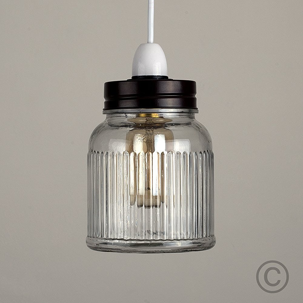 Retro Style Silver Brushed Chrome And Clear Glass Ribbed Pattern Design Jar Ceiling Pendant Light Shade