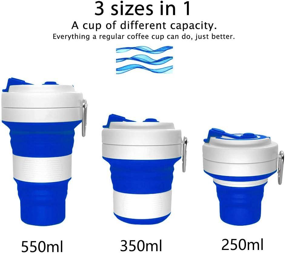 Hipier Tazas de Silicona Plegable Taza de Caf/é de Viaje Ecologica Vaso Cafe para Llevar con Tapa Coffee to go Cup y Pajita para Camping Senderismo