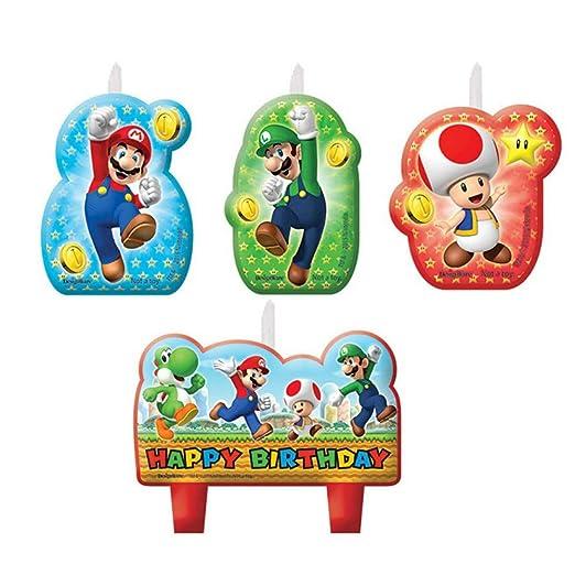 CAPRILO Lote de 4 Velas Infantiles Decorativas Super Mario ...