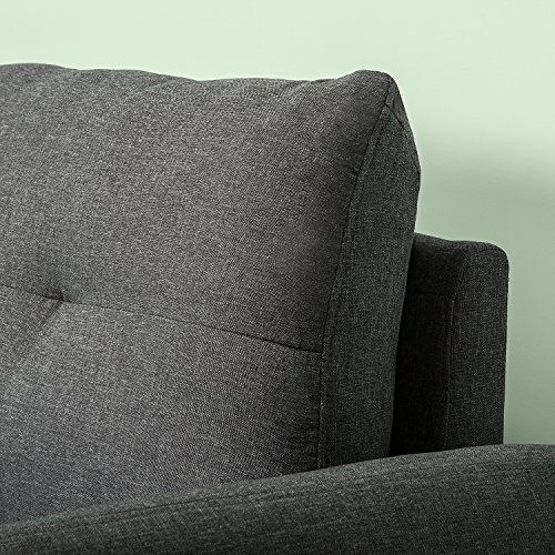 Zinus Contemporary Upholstered 62in Sofa Couch/Loveseat, Dark Grey