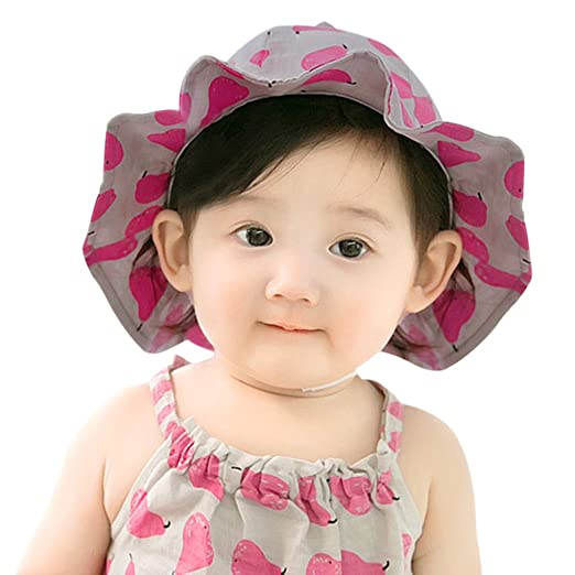 b6c24ab9a9a Newborn Baby Girls Cute Ruffle Cotton Bucket Sun Hat Princess Cap Infant  Toddler Kids UPF 50