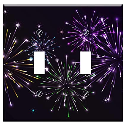 Switch Plate Double Toggle - Fireworks Salute Night Sky In