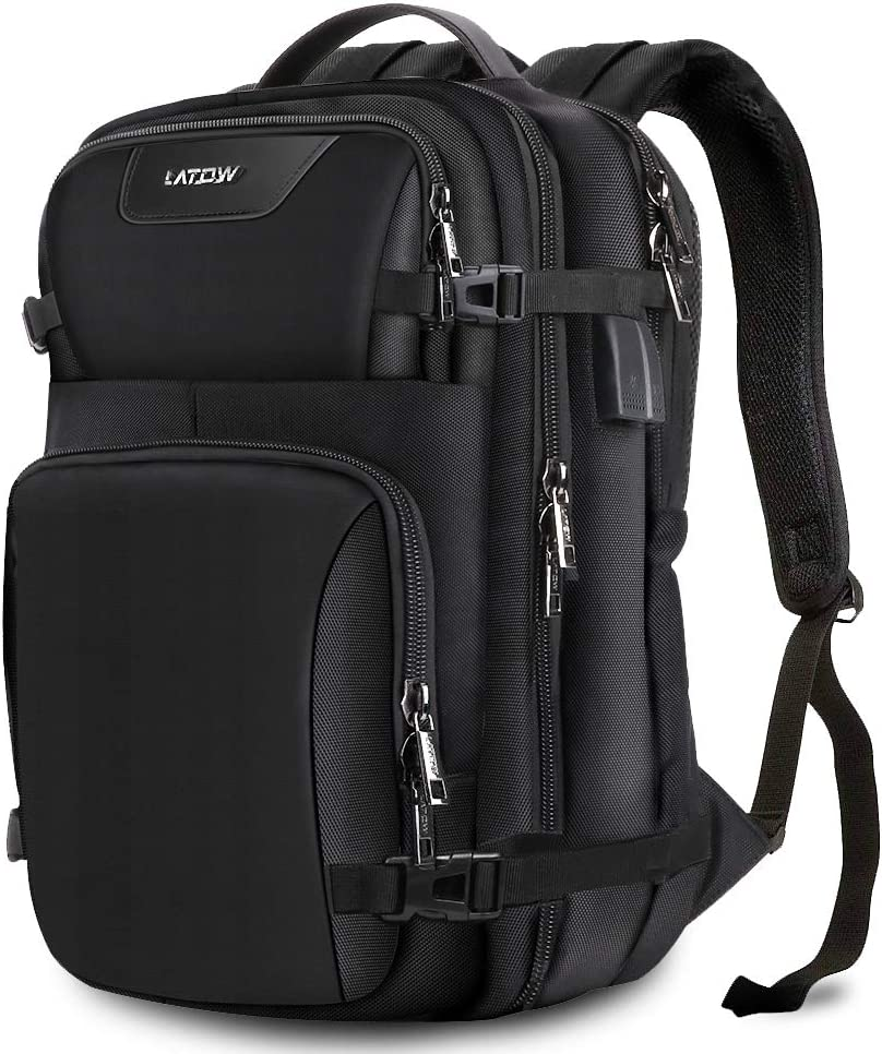 LATOW Laptop Backpack, Travel Anti Theft Water Resistant Computer Bag with USB Charging Port Headphone Interface, Slim Business Backpack Ideal for Men Women College Student Fit Under 15.6 Notebook