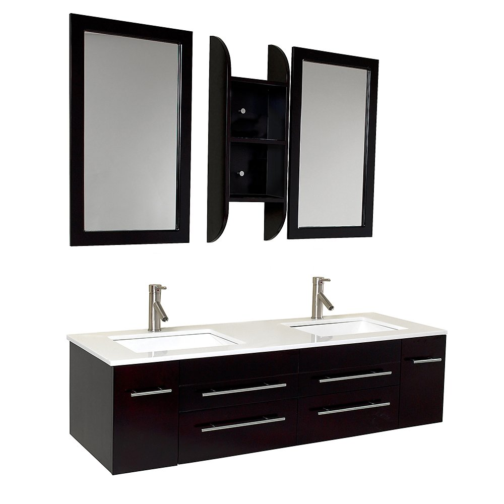 Merveilleux Fresca Bath FVN6119UNS Bellezza Double Vanity Sink, Espresso     Amazon.com