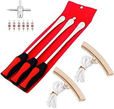 3Pcs 14.5inch Tire Spoons Lever Iron Tool Kit Motorcycle Bike Professional Tire Change Kit with 3pcs Rim Protectors 6 Valve Cores Valve Tool Bag