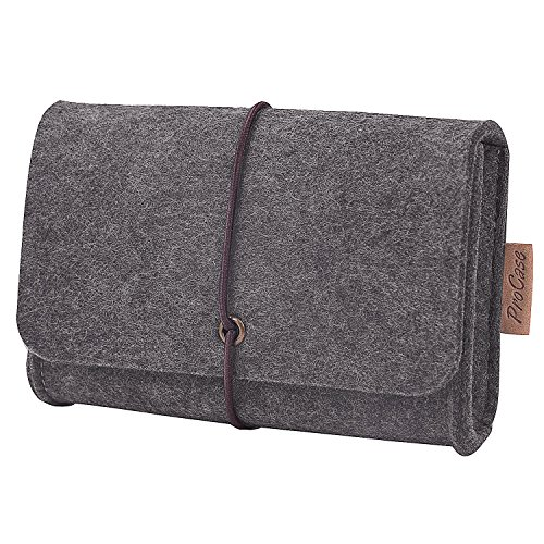 ProCase Felt Storage Case Bag Accessories Organizer for MacBook Laptop Mouse Power Adapter Cables Computer Electronics Cellphone Accessories Charger SSD HHD (Felt Wire)