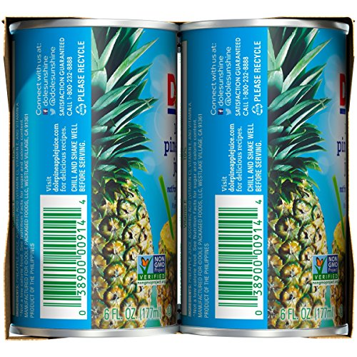 Dole 100% Pineapple Juice, 6 Ounce Can (Pack of 6), Pineapple Juice in Individual-Serving Cans, Great for Smoothies Drinks Marinades Desserts and More by Dole (Image #7)