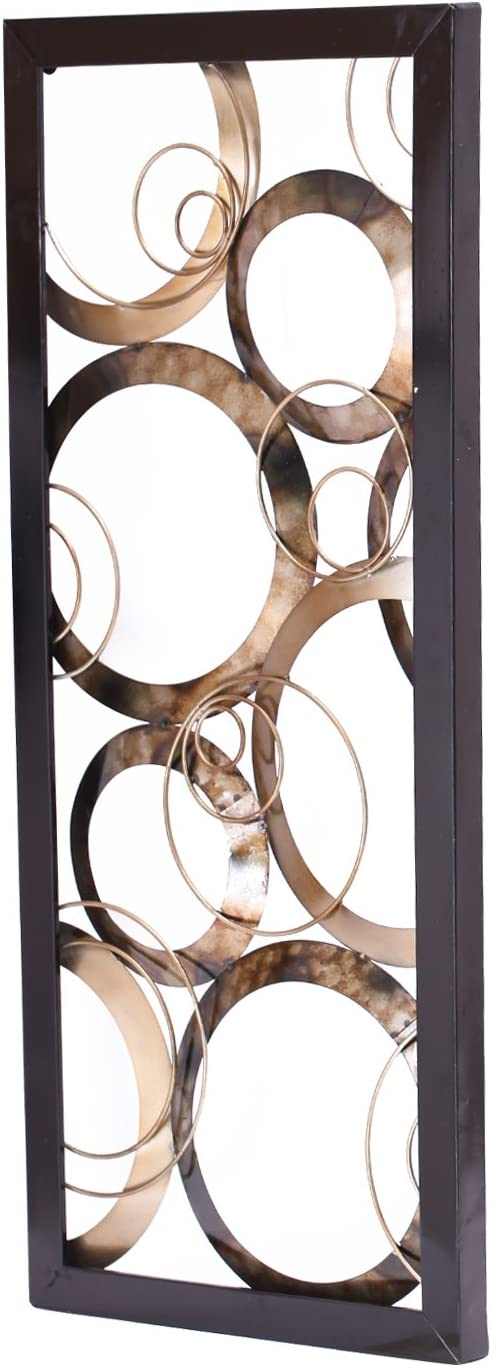 Adeco Decorative Iron Wall Hanging Vertical Square Design - 32x14 Inches