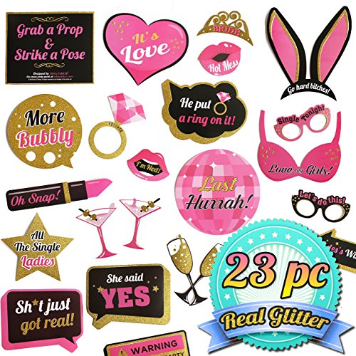 Bachelorette Party Photo Booth Props Kit - Bridal Shower Hen Party Decorations - Real Gold Glitter - Bachlorette Naughty Accessories - 23 Unique Designs