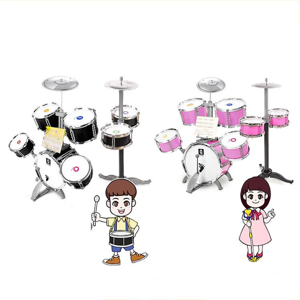 LIPENG-TOY Batería Niños Principiantes Niños y niñas Tambores Grandes Tambores Instrumentos Musicales Batería Música Juguetes 1-3-6 años. (Color : Pink, Estilo : C)