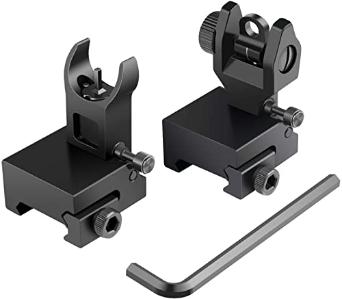 Feyachi Flip Up Rear Front and Iron Sights Best Backup fits Picatinny Weaver Rails Black
