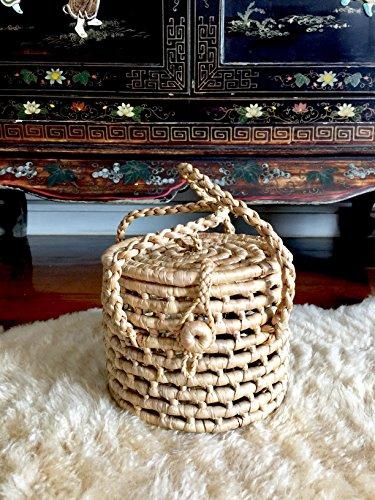 (Mini Straw Bucket Bag,Straw Basket with Handles,Woven Straw Bags,Basket Purse,Birkin Basket,Wicker Straw Purse,Straw Totes,Round Basket Bag)