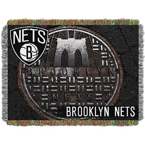 The Northwest Company Officially Licensed NBA Brooklyn Nets Sewer Cap Woven Tapestry Throw Blanket, 48