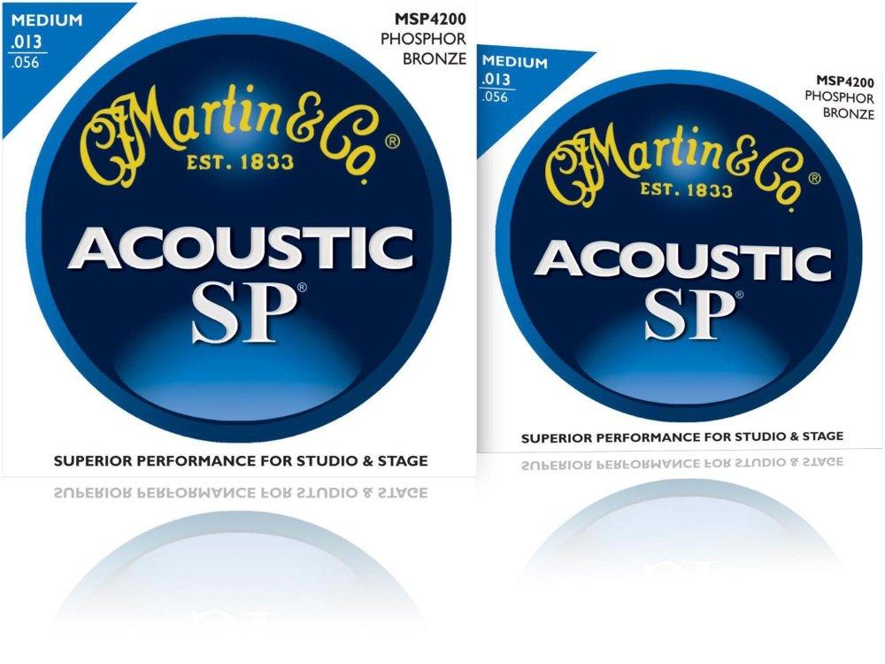 Martin MSP4200 Phosphor Bronze Medium Acoustic Guitar Strings (2 Pack) by Martin