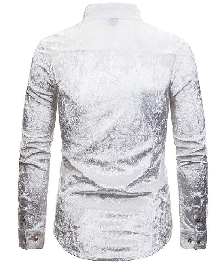 YYG Men Button Down Irregular Classic Velvet Long Sleeve Club Dress Shirts