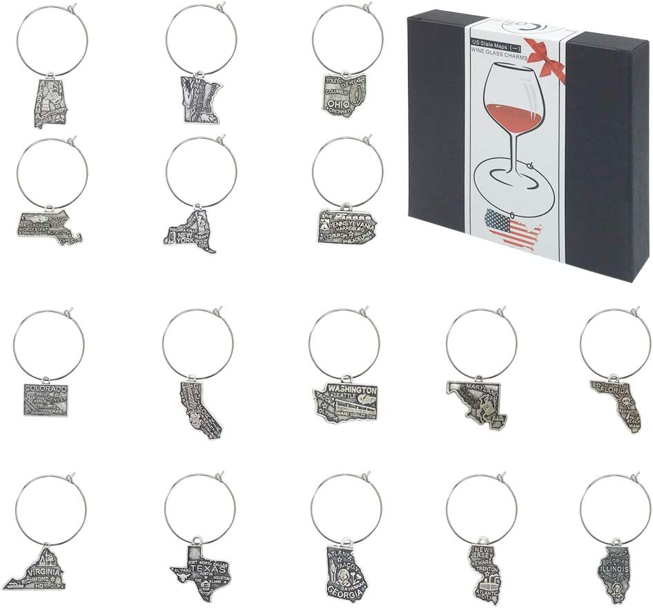 16 Piece US Maps Themed Wine Glass Charms,Wine Tasting Party Decoration Supplies Gift