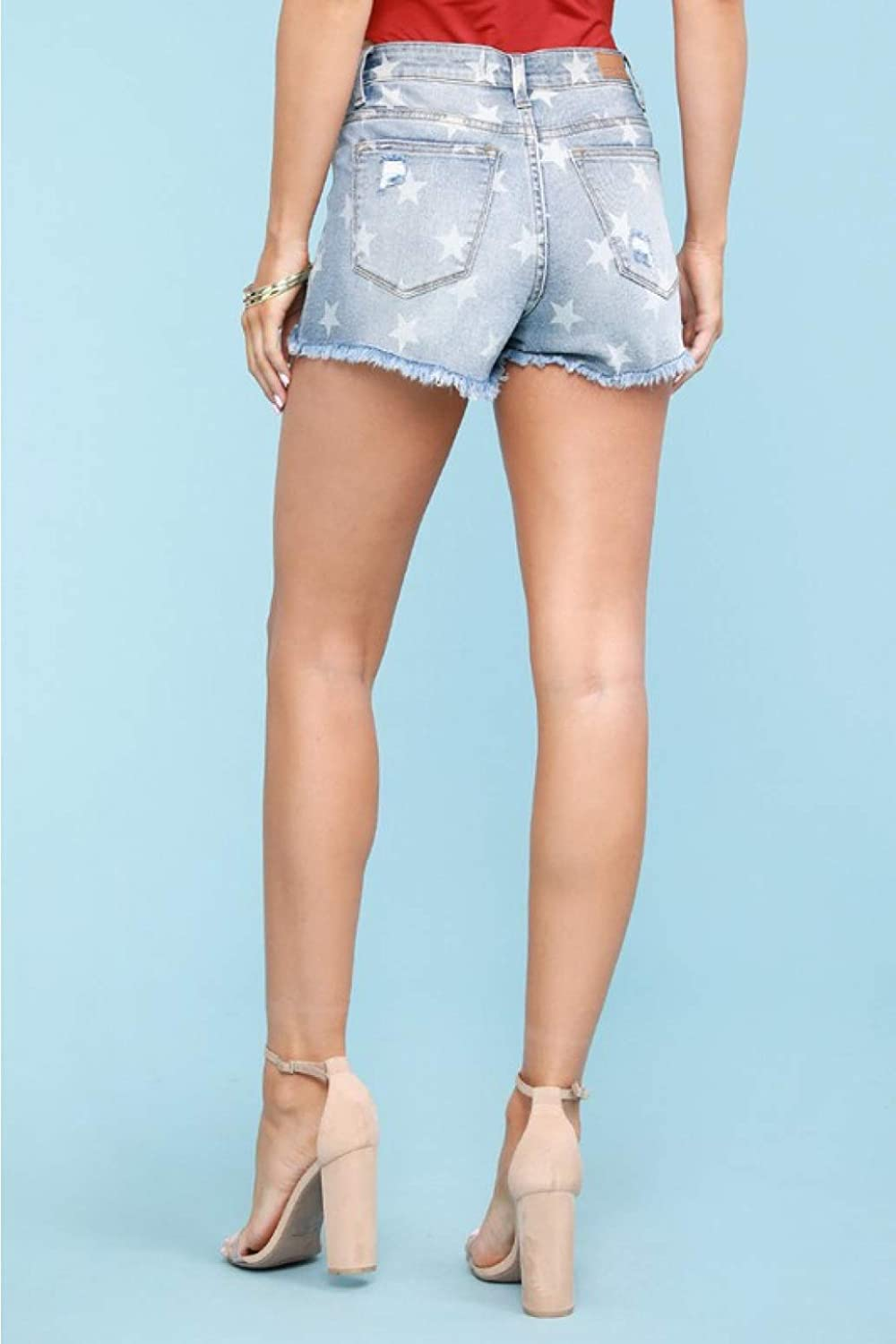 Style: 1581 Judy Blue Star Print Distressed Cut-Off Shorts