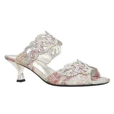J. Renee Women's Francie Dress Slide,Pastel Jacquard Glitter Fabric,US ...
