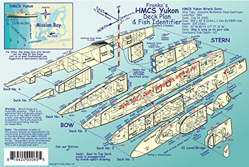 HMCS Yukon Wreck Deck Plan & San Diego Kelp Forest Creatures Guide Franko Maps Laminated Fish Card