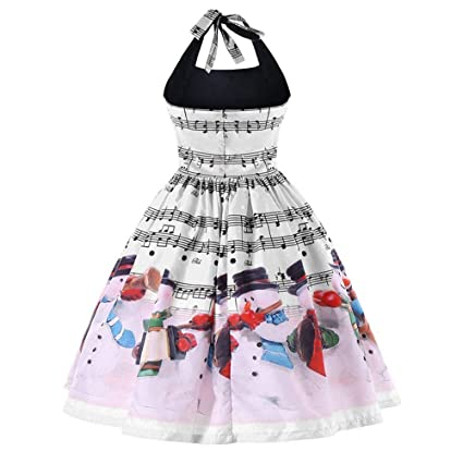 Christmas Series Dress-Women Xmas Musical Note Lace Sleeveless Halter Party Swing Dress at Amazon Womens Clothing store: