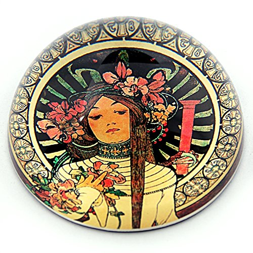 Mucha Belle Epoque Woman with Floral Headpiece La Trappistine Glass Paperweight Paper Weight ()