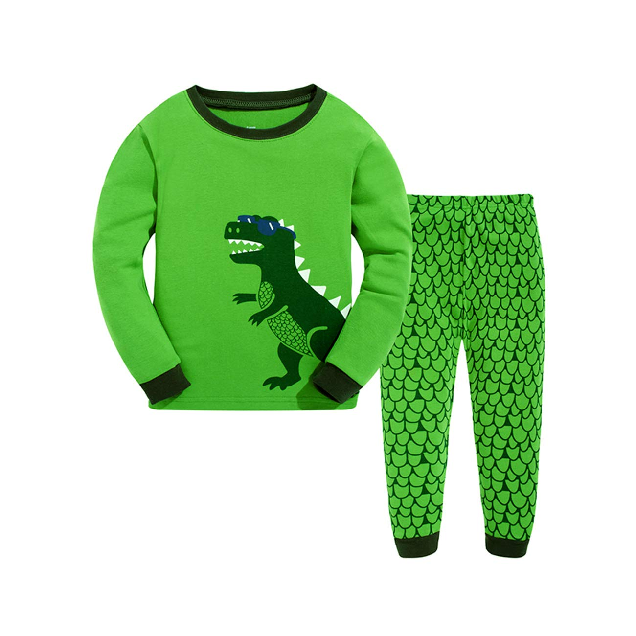 Little Boys Pajamas Dinosaur Thanksgiving Christmas Nightwear Sleepwear Long Sleeve Pjs Set for Kids Toddler 1-2 Years 2T