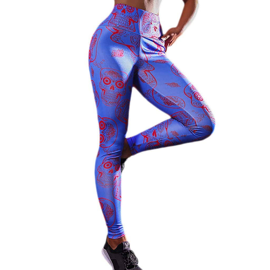 CapsA Workout Pants for Women Print Leggings Soft Fitness Sports Running Yoga Athletic Pants Blue