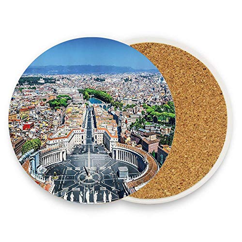 keyishangmaoLu Saint Peters Square in Rome Italian Mediterranean Europe Citscape Urban Mod Print Coaster Ceramic Cork Trivet Heat Resistant Hot Pads Table Cup Mat Coaster 1 Piece -