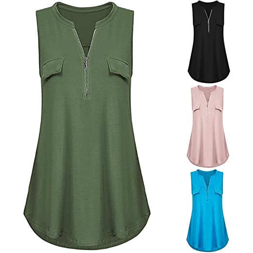 FORUU womens Tank Tops Tank Tops, Women Summer Casual Comfort Solid V Neck Zipper Vest Crop Camis Sexy at Amazon Womens Clothing store: