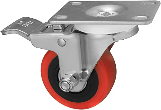 D/&L 3 Inch Swivel Castor Wheels 1400lbs Heavy Duty Casters with Brake Polyurethane Dual Locking Casters Set of 4 Red DL-I3-001R