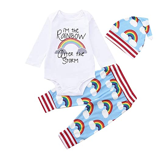 Dinlong Baby Girl Boy Clothes Letter Rainbow Romper Jumpsuit Top Pant Hat Outfit (0-