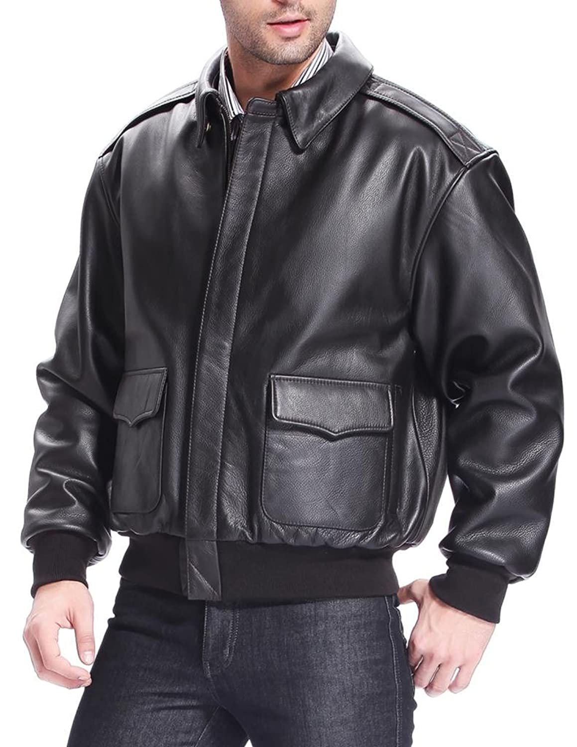 Airborne Leathers Men's A-2 Cow Leather Flight Jacket at Amazon ...