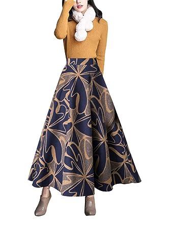 97b31b7c26ddf1 Damen Vintage Elegante Gestreifter Plaid Wollrock a Linie Herbst Winter  Warm Röcke Mode Langen Elastische Taille