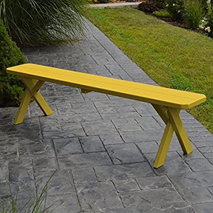 Attrayant A U0026 L Furniture Yellow Pine Cross Legged Picnic Table With 2 Benches (No  Hole