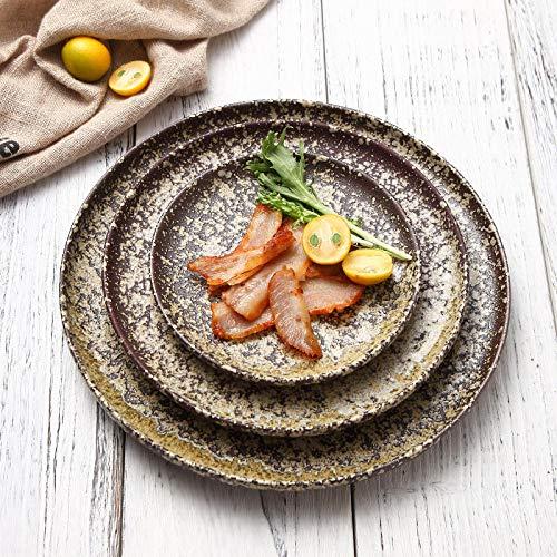 haoWAN - Plato Redondo de cerámica para Pizza, Modelo de Piedra ...