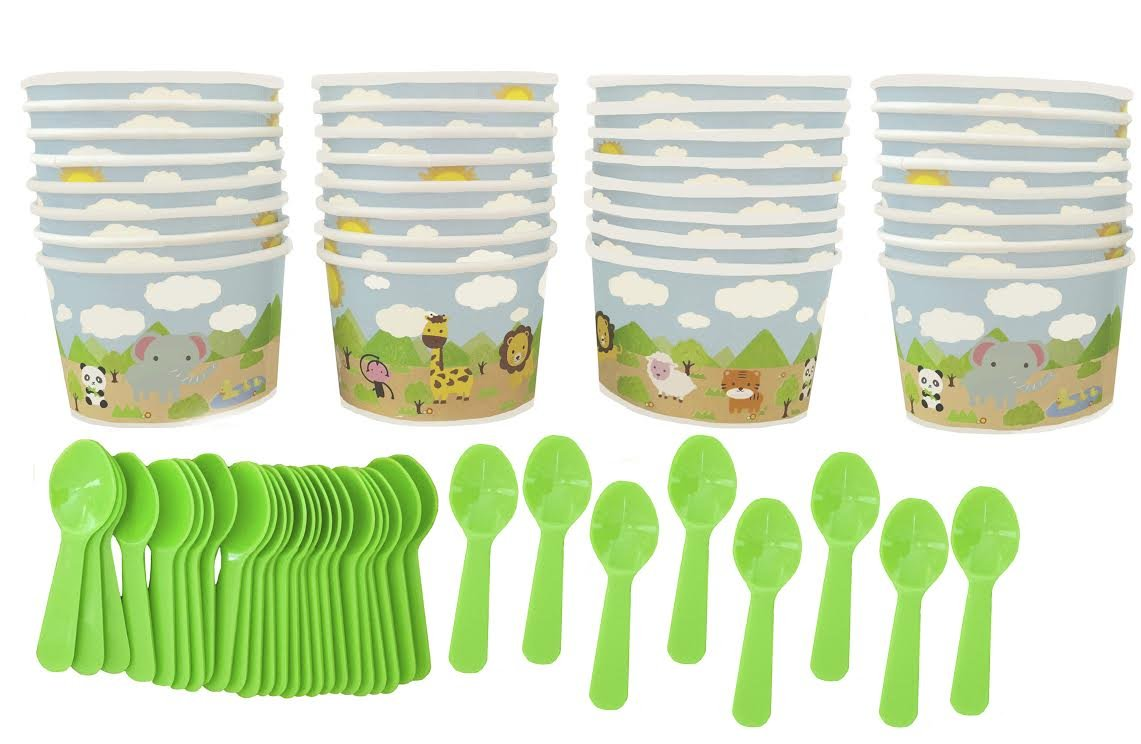 Animal Themed Paper Treat Cups - Light Blue Green Yellow - Mini Plastic Spoons - 32 Each