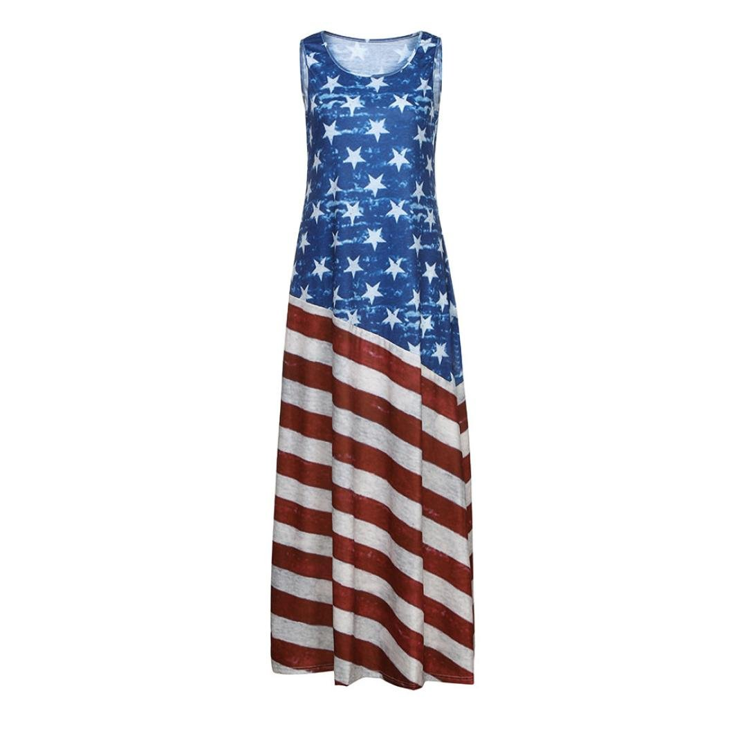 522f65a8cb84 WYTong Ladies Patriotic Vintage Star and Stripe Printed Maxi Dress Women  Loose USA American Flag Long Tank Sundress at Amazon Women's Clothing store: