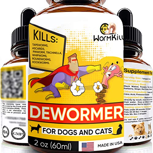 Dewormer for Dogs and Cats Broad Spectrum Worm Treatment for Pets & Puppy & Kitten Powerful Canine Dewоrmer for Tapeworm, Roundworm, Whipworm Hookworm, and Nematode - Liquid Drops 2oz