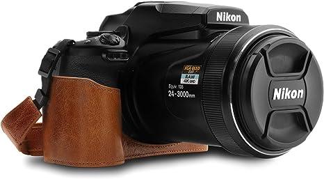 MegaGear Ever Ready - Funda para Nikon Coolpix P1000 (con Correa) Color marrón Oscuro: Amazon.es: Electrónica