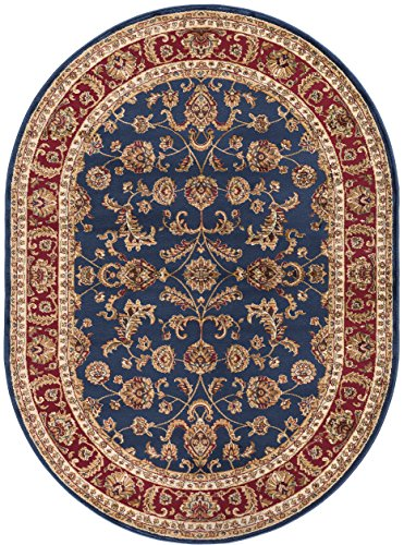 Sariya Transitional Oriental Navy Oval Area Rug, 5' x 7' Oval