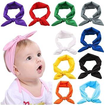 Amazon.com  Yfstyle Baby Headbands 12 Pcs Rabbit Ear Knot Hairbands ... 9a8bf7166cf