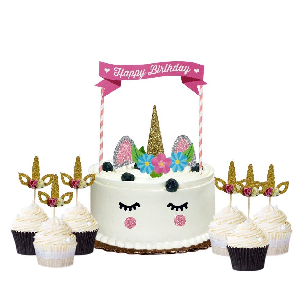 AMZTM Decorazioni Unicorno Rosa Per La Festa Di Compleanno Torta Di Toppers Per La Festa A Tema Unicorno Della Neonata(11 Pezzi) 6 Pezzi Unicorno Cupcake Toppers Oro Glitter