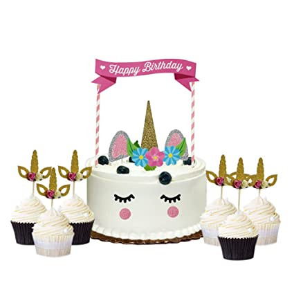 AMZTM Pink Baby Girl Unicorn Themed Birthday Party Cake Topper Decoration Kit11PCS 6PCS Cupcake Toppers Gold Glitter 17 Amazoncouk Kitchen
