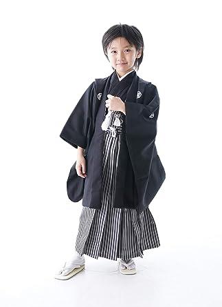 b46af49f0b3c6 七五三 着物 男の子 セット 袴 ブラック 無地 シンプル 紋付 紋付袴 羽織袴セット はかま フル