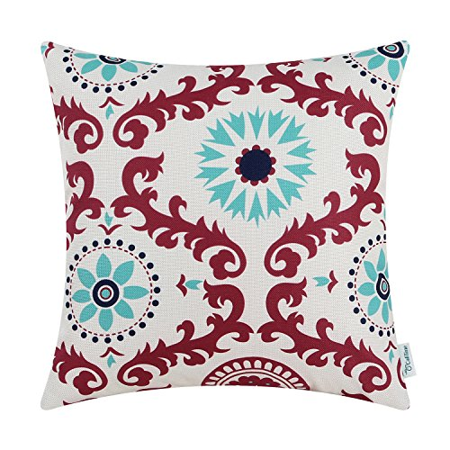 CaliTime Canvas Throw Pillow Cover Case for Couch Sofa Home Decor, Three-tone Dahlia Floral Compass Geometric, 18 X 18 Inches, Red Wine / Turquoise / Navy (Red Holiday Pillow)