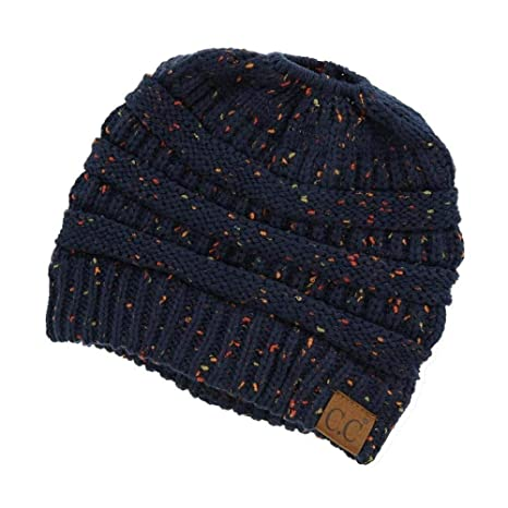 92fe09fa4 Messy Bun Hat Beanie CC Quality Knit (Navy Flecked)