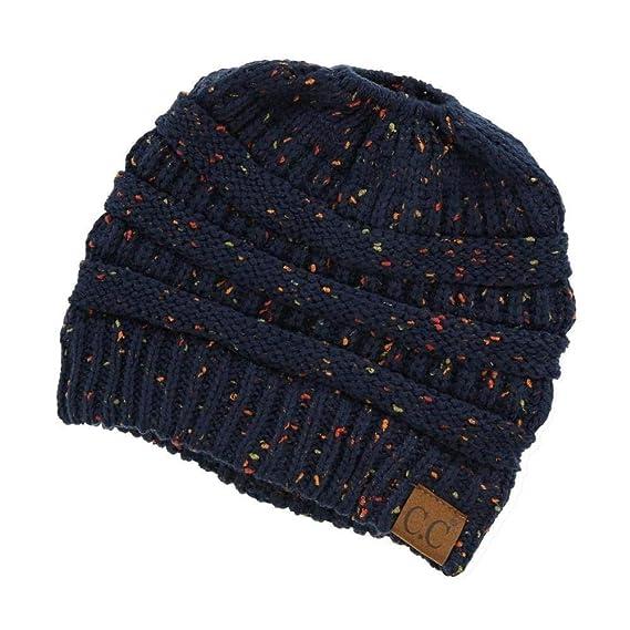 443d9763b24eb Messy Bun Hat Beanie CC Quality Knit (Black) at Amazon Women s Clothing  store