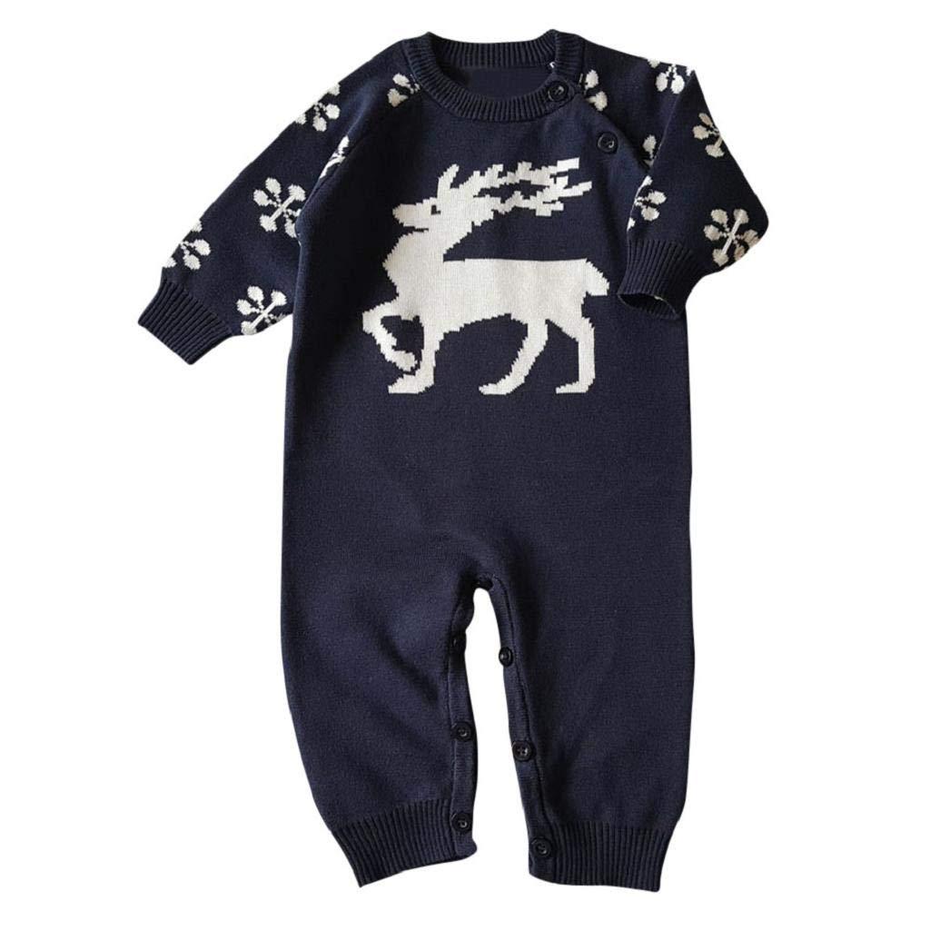 VICGREY ❤ Pagliaccetto Neonato Inverno Bambino Neonato Manica Lunga Natale Cervo Cartoon Maglia Abiti Tuta Romper Vestiti Cldo Romper Baby Jumpsuits