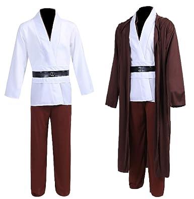 star wars jedi robe costume obi wan kenobi halloween knight hooded robe cape outfit 01m