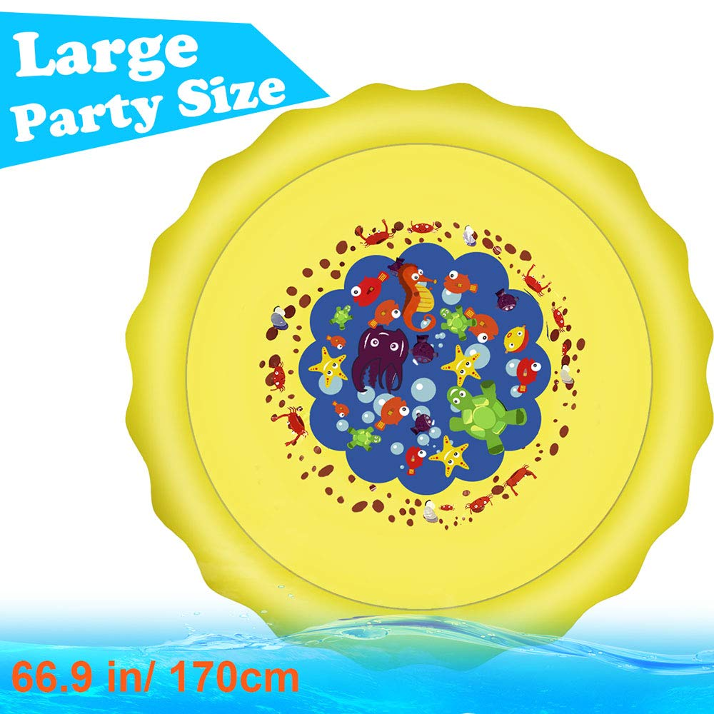 Candywe Splash Pad Kids Toys, 68'' Sprinkle and Splash Play Mat Pad Toy for Children Infants Toddlers Boys Girls and Kids,Water Toys for Summer Fun Backyard Water Play Mat Outside Toys for Kids by Candywe (Image #3)
